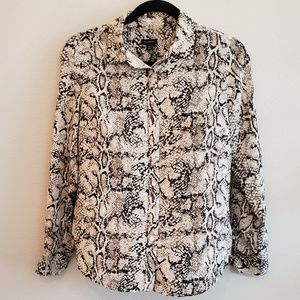 Talbots Snake Print Long Sleeve Button Up Blouse